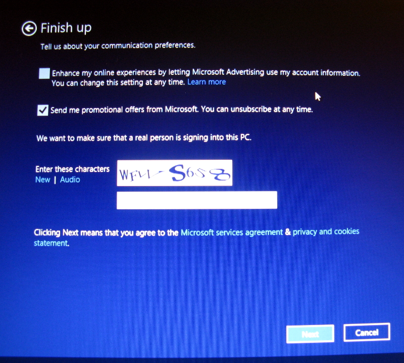 Win8 setup captcha