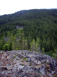View up toward Mailbox Peak from Dirty Harry's Balcony